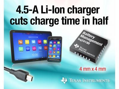德州仪器4.5A锂离子电池充电器支持更快、更低温度的充电