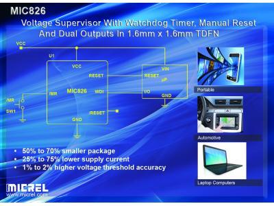 麦瑞半导体推出高精度超小型电压监控器MIC826