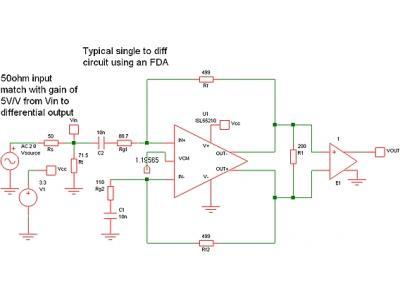 使用有源匹配电路改善宽带全差分放大器的噪声性能