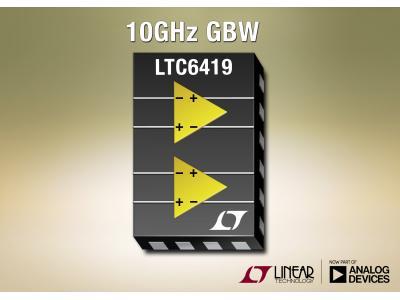 凌力尔特公司推出 10GHz 增益带宽积双差分放大器 LTC6419