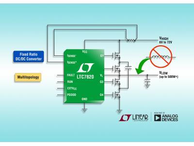 ADI推出大功率固定比例充电泵 DC/DC 控制器 LTC7820