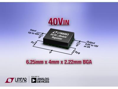 ADI推出 40VIN、2A µModule (电源模块) 降压型稳压器 LTM8063