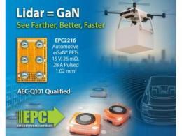 """车规级氮化镓场效应晶体管(15 V 的EPC2216)使得  ToF激光雷达系统""""看得""""更清晰"""