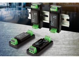 新款15W和20W机板型/DIN导轨安装型DC-DC转换器,适合工业和通讯应用