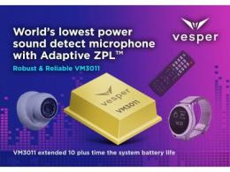 Vesper发布业界首个Adaptive ZeroPower Listening™器件