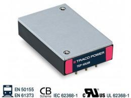 Tep 40/60 UIR系列-40和60瓦铁路批准的超宽12:1输入电压范围的DC/DC变换器
