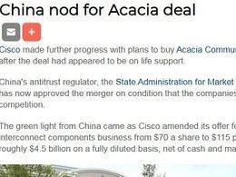 收购 | 思科获中国批准收购Acacia 5年内继续履行与中国客户合同