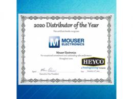 贸泽电子荣获Heyco年度全球最佳分销商称号