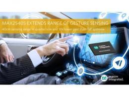 Maxim Integrated最新发布基于红外的动态手势传感器,能够在更远的距离检测各种手势,确保驾驶员专注于道路