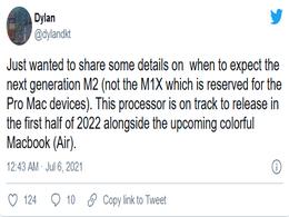 """苹果""""M2""""芯片将于2022年初首发"""