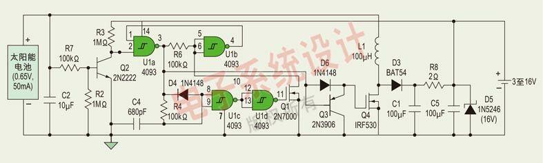 只要太阳能电池的电流比流过C2、R7和Q3的泄漏电流大,这个电路就为电源电池提供涓流充电。