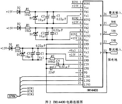 三相电机驱动器,它包含三相桥式逆变电路及相关控制