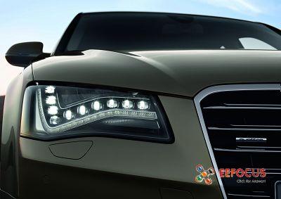 灯中的欧司朗 LED 光点.图片来源:德国奥迪汽车股份公司-奥迪A8 高清图片
