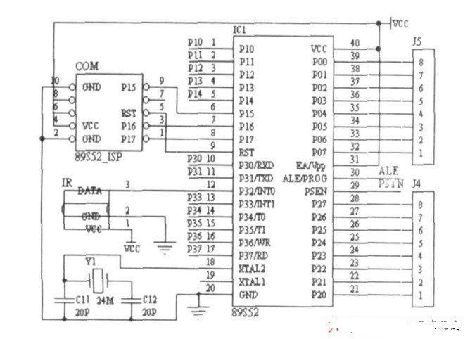 (微控制器) 为核心,采用Atmel 公司的AT89S52单片机。 这种单片机是一种低功耗、高性能的8位微控制器,内嵌8K可编程Flash 存储器,属于MCS单片机产品系列,已为众多嵌入式系统所选用。 窗帘遥控器的MCU则采用该系列中贴片式MCS89C2051 单片机,以满足体积与功耗的要求。   2.