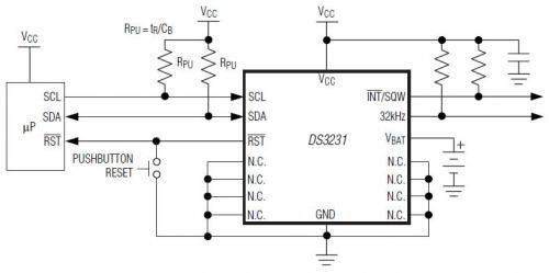Maxim 实时时钟(RTC) DS3231典型工作电路