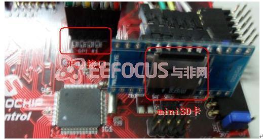 3.6.2 miniSD与PIC32连接 如图2-13所示,使用SPI1接口与miniSD卡相连,图2-14为实物连接图。  图3-14 使用SPI1接口与miniSD卡连接  图3-15 实物连接图 3.6.3 Fatfs文件操作系统 FatFs是一个通用的文件系统模块,用于在小型嵌入式系统中实现FAT文件系统。 FatFs 的编写遵循ANSI C,因此不依赖于硬件平台。它可以嵌入到便宜的微控制器中,如 8051, PIC, AVR, SH, Z80, H8, ARM 等等,不需要做任何修改。其特点:
