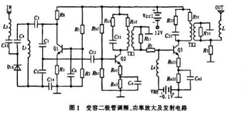 实用变容二极管谓频、功率放大及发射电路