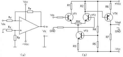 由集成运算放大器构成的差动放大器电路和由分立元件构成的差动