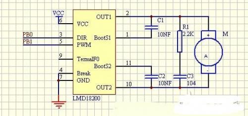 10接直流电机,正转时电流的方向应该从引脚步