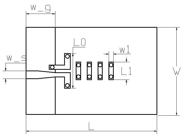 图3  准八木天线结构(俯视图)