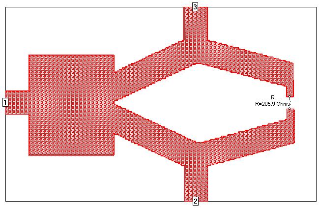最后通过Sonne的几何编辑工具,可以画出如图3的平面结构图。该结构和图1中的模型一样是对称的。为了显示立体参数,图4给出了相应的三维立体图。  图3 实际双频功率分配器的平面显示图  图4 实际双频功率分配器的立体几何显示图  图5 采用SONNET进行电磁仿真的S参数结果图   图6 功率分配器在2.