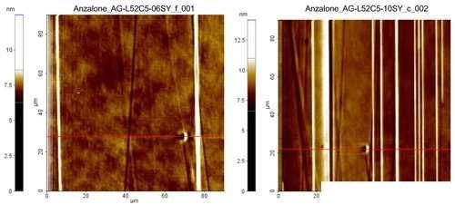 图3 不同蚀刻时间会在晶圆表面留下不同程度的阶褶.