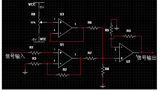 1、系统结构框图  图1系统结构图 1.1、信号调理电路 信号调理电路要完成的功能是:程控放大,叠加直流分量。程控放大的作用是:当输入信号的幅度很小的时候就需要对输入信号进行放大,使得被测信号可以在LCD上尽可能清楚的显示出来。叠加直流分量的作用是:ATmega16自带的A/D是单电源的,没办法输入负压而待测信号又往往有负压。这时候就需要这样一个电路,可以把负压抬高到0电平以上。  图2信号调理电路原理图 R1,R2分别由一个模拟开关CD4051来连接不同的电阻,不同的R1,R2通过公式:这样就可以实现程