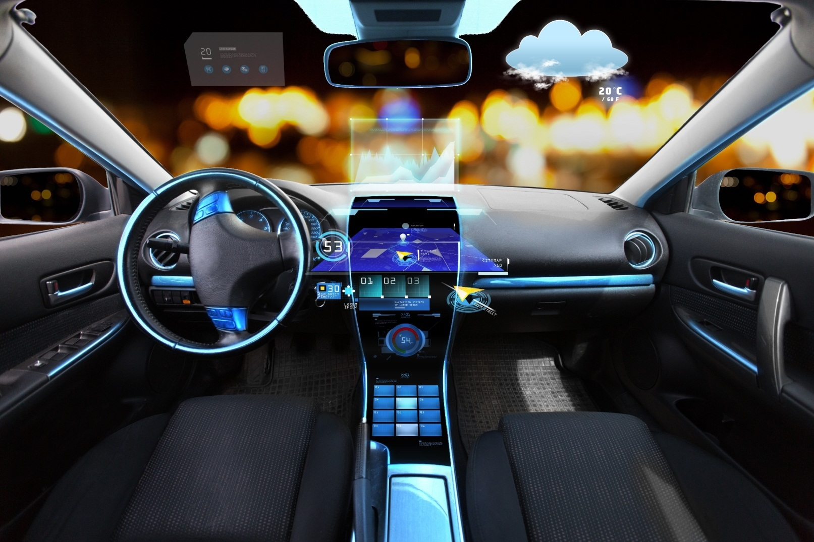 汽车的挡风玻璃上,将仪表板上的信息显示出来——包括速度