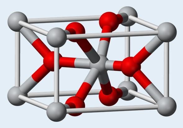 金红石的晶体结构,二氧化钛的一种形式;红色的是氧原子,灰色的是钛