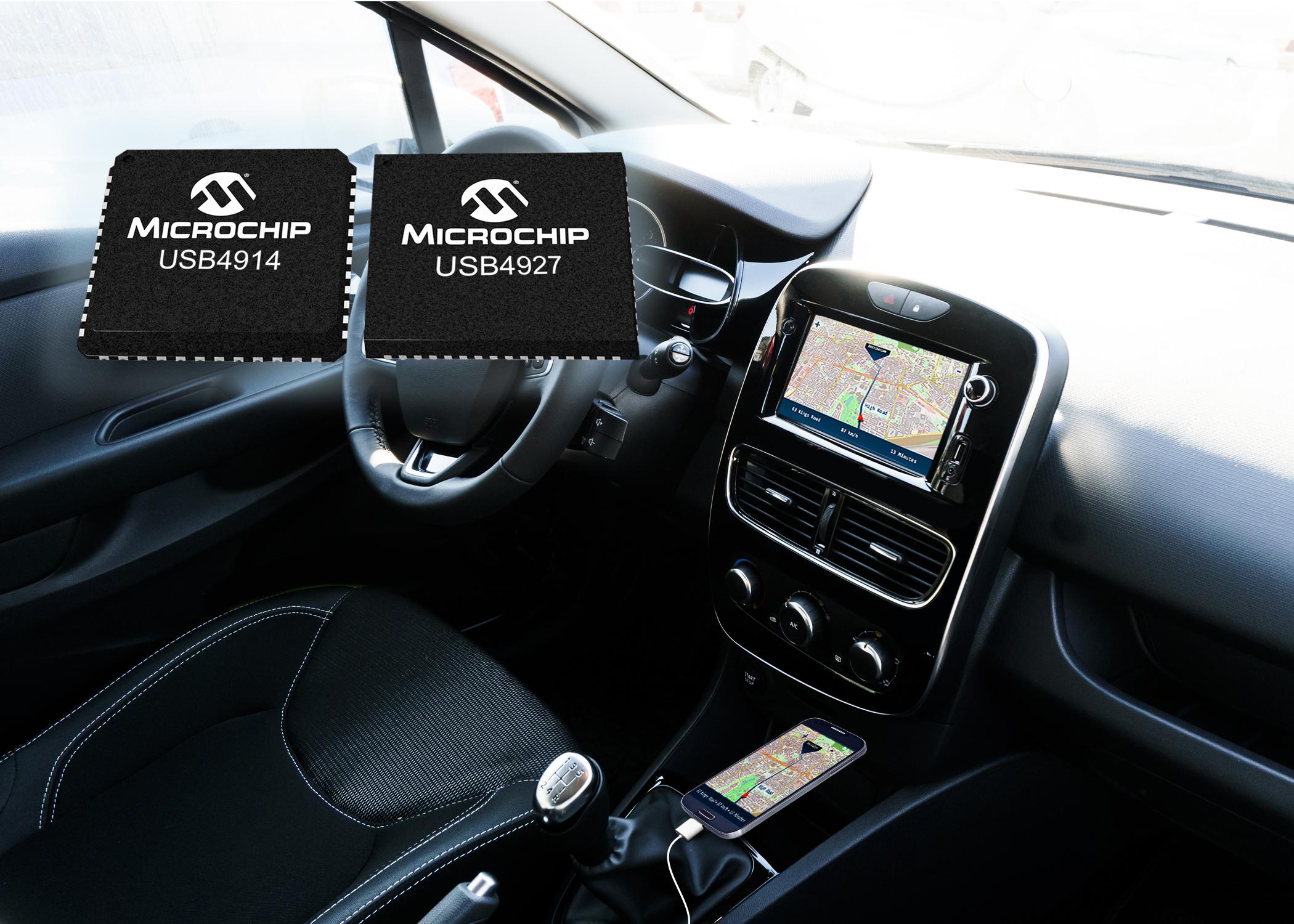 Microchip新款智能集线器IC支持集线器级联到第二和第三排座位,数据可同时出现在所有端口上,并具备充电功能。例如,如果有两个USB端口,一个端口可以把手机或者平板电脑连接到汽车主机,而另一个端口既可以充电也可以上传/下载数据。采用Microchip的新款USB4914、USB4916、USB4925和USB4927智能集线器IC,汽车制造商可以定制自己的解决方案以满足其设计需求。随着汽车越来越成为一种娱乐环境,制造商可以开发新颖的解决方案——支持消费者使用一部手机进行导航,而
