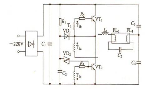 1. 电子镇流器电路图