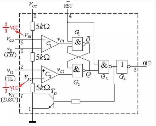 555定时器结构图、555定时器引脚图