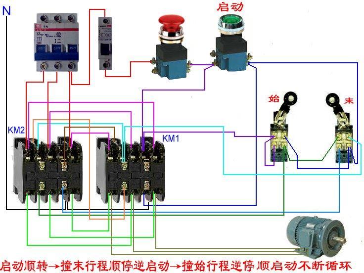 行程开关接接触器接线图