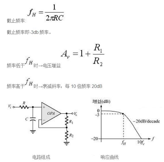 有源低通滤波器截止频率计算公式