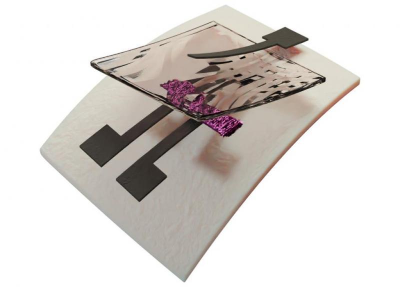 首个完全可回收的打印晶体管的3D渲染
