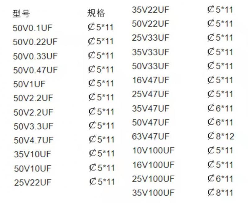 电解电容型号规格表