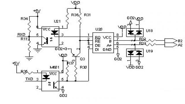图3 双路RS485通讯电路