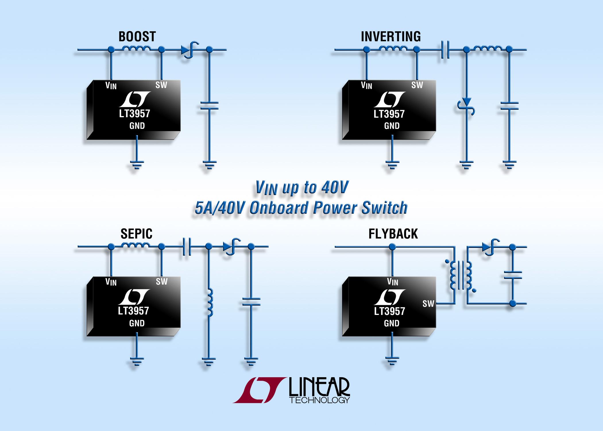 升压、反激式、SEPIC 和负输出 DC/DC 转换器