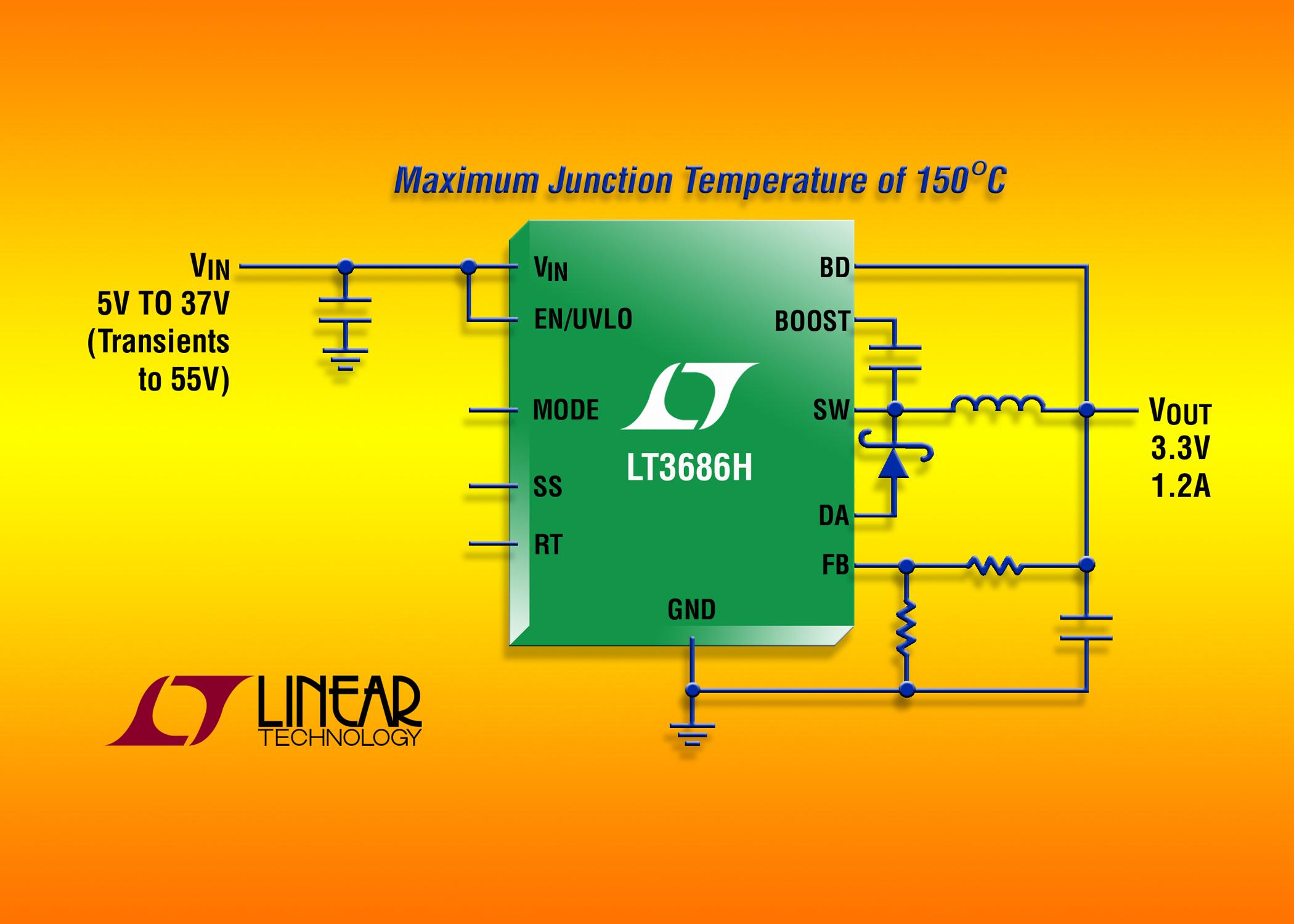 照片说明: 具 150ºC 最高结温、55V 瞬态保护的 37V、1.2A 降压型 DC/DC 转换器