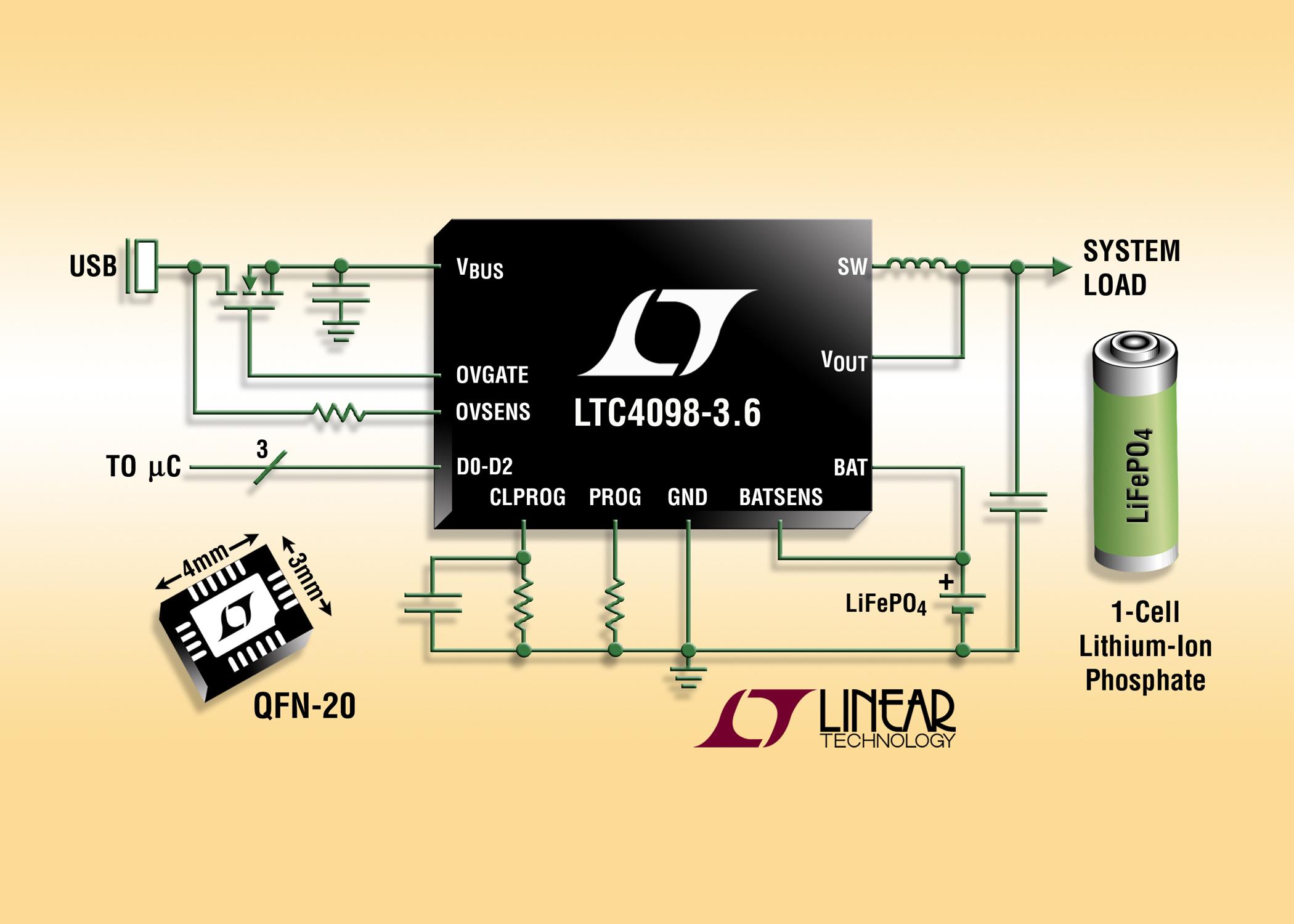 照片说明:用于 LiFePO4 的高效率 USB 电源管理器和电池充电器