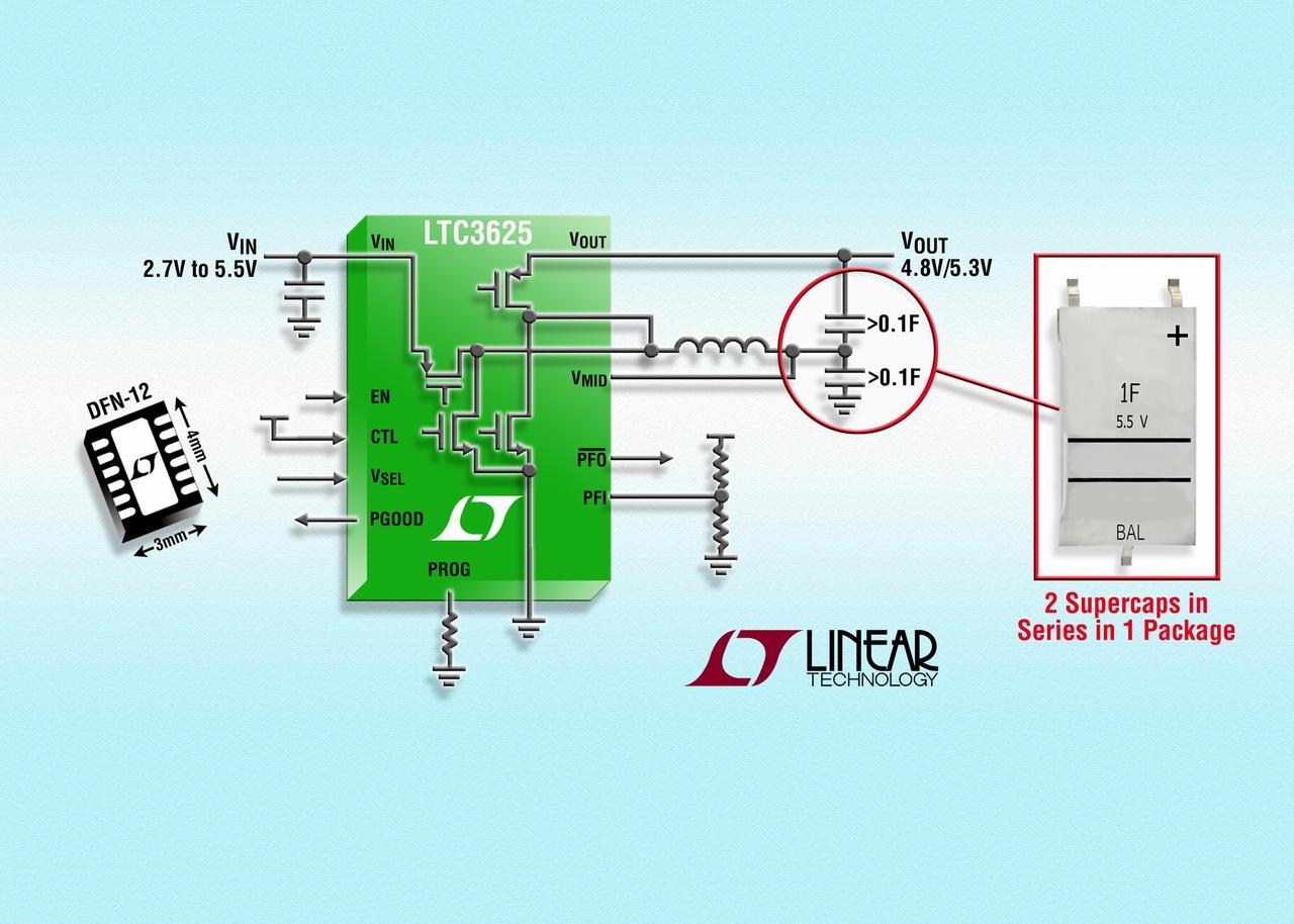 照片说明: 具自动电池平衡功能的 1A 两节降压-升压型超级电容器充电器