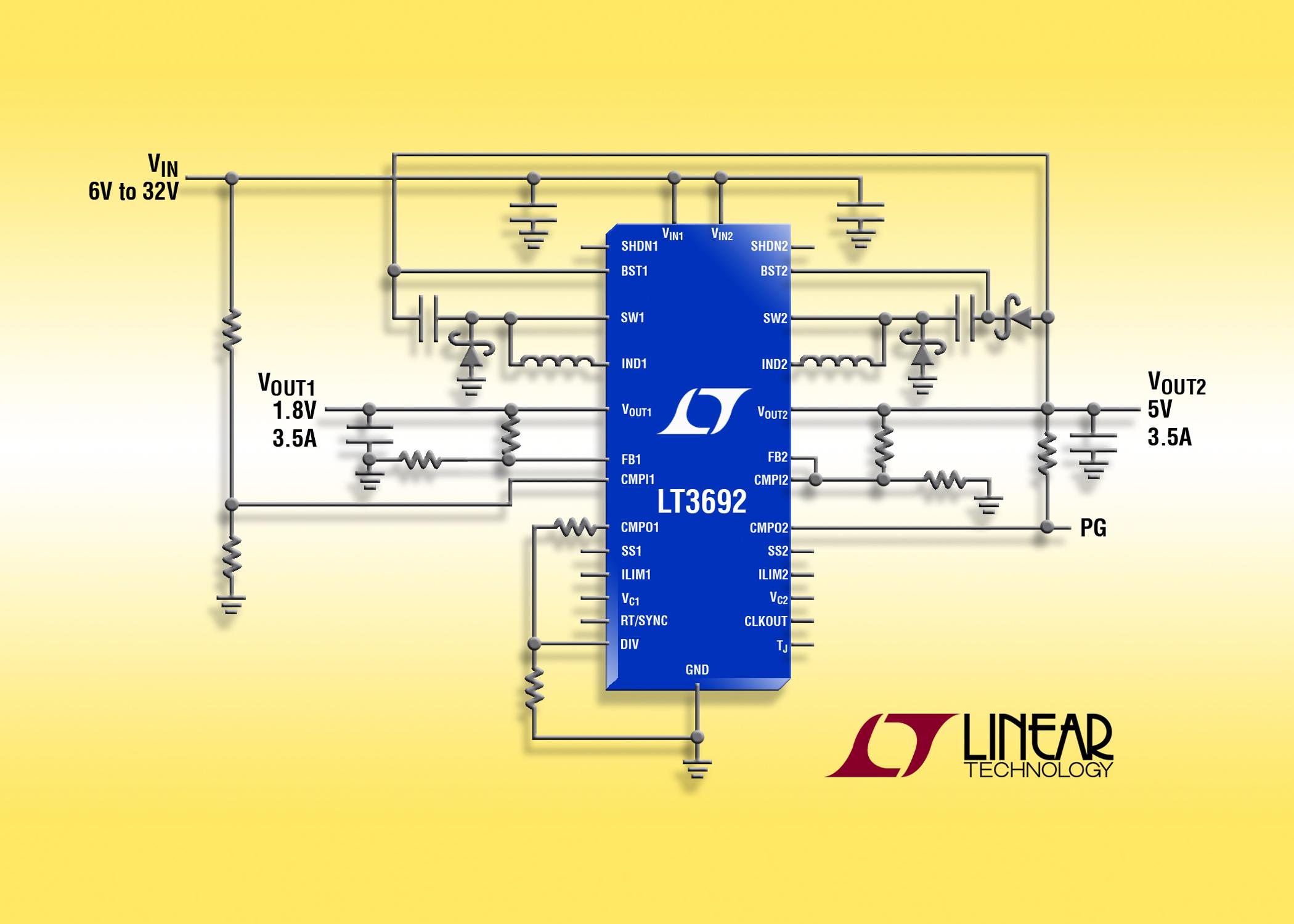 照片说明:36V 输入、双通道、3.5A (IOUT) 降压型DC/DC转换器