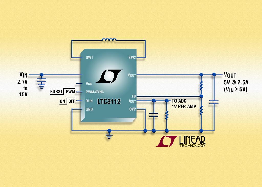 照片说明:采用集成功率 MOSFET 的 15 VIN、2.5A 同步降压升压 DC/DC 转换器效率高达95%,实现低噪声运行