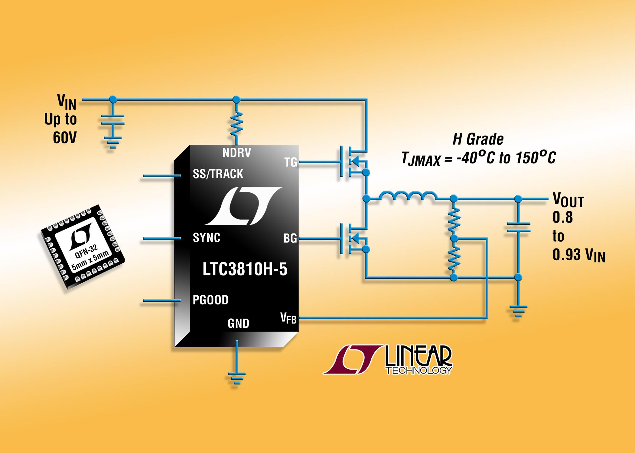 照片说明:60V 同步降压型控制器能在温度高达 150°C 时工作