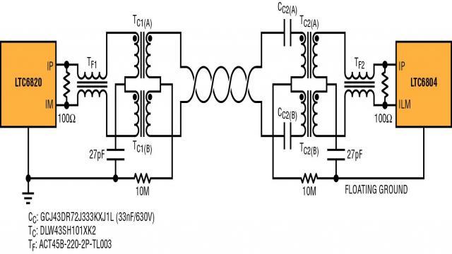 图 4:完整的高压 isoSPI 点对点链路