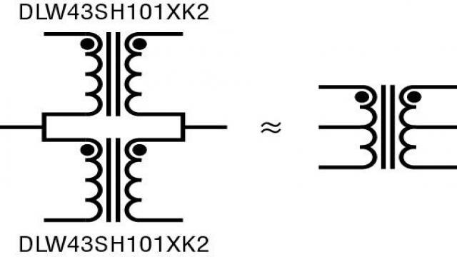 图 3:用两个共模扼流圈构成具备中央抽头的 isoSPI 变压器