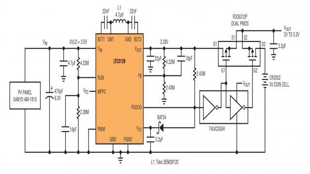 2:使用硬币型备份电池的太阳能供电转换器