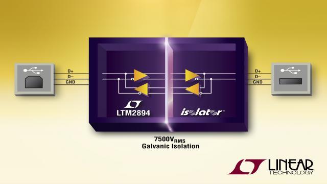 隔离式 USB 2.0 收发器提供 7500VRMS 隔离