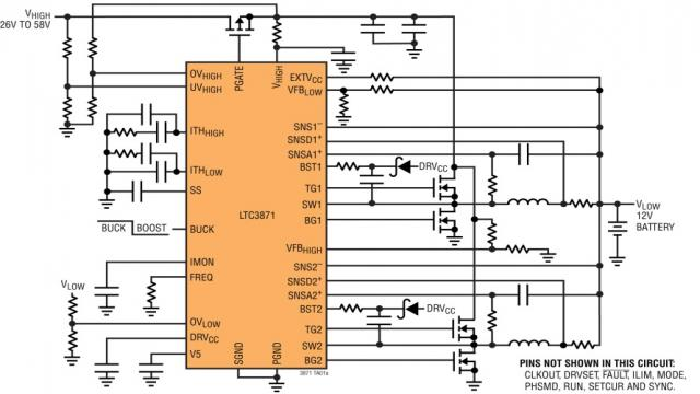 图 1:LTC3871 双向原理图 (从一个 26V 至 58V 输入产生 12V 输入,可提供 30A 电流)