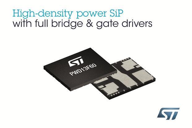 ST新闻图片 12月6日——意法半导体(ST)完整全桥系统封装内置MOSFET、栅驱动器和保护技术,以节省空间,简化设计,精简组装